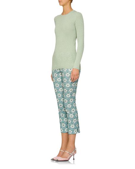 Metallic Long-Sleeve Crewneck Sweater