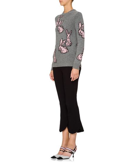 Wool-Blend Crewneck Rabbit Sweater