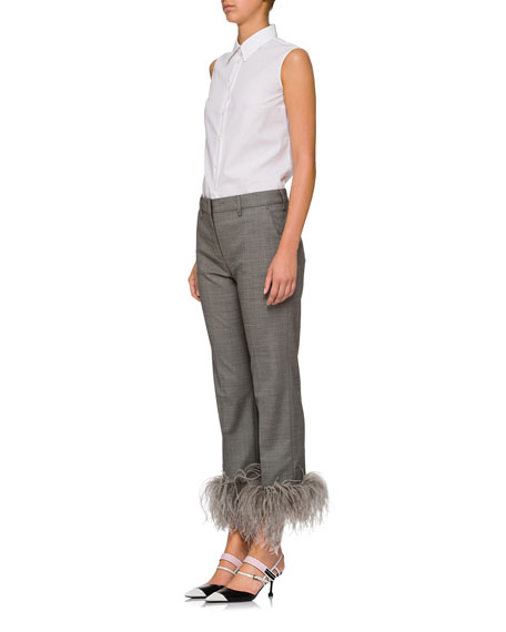 Feather-Embellished Straight-Leg Pants