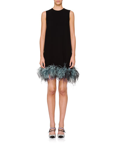 Sleeveless Feather-Hem Crewneck Dress