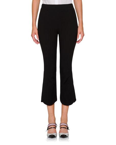 Scalloped-Hem Flare Cropped Pants