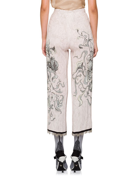 Printed Pajama Pants w/ Piping