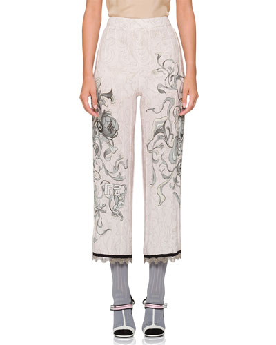 Printed Pajama Pants w/ Piping