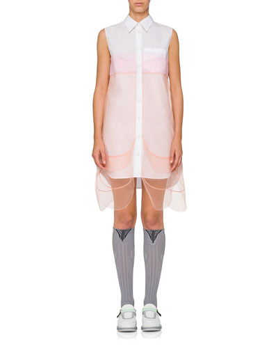 Button-Down Poplin Shirt Dress w/ Sheer Overlay