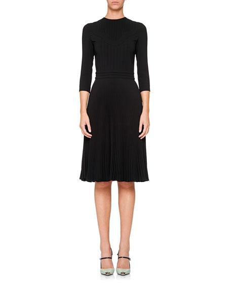 3/4-Sleeve Crewneck Dress w/ Pleated Skirt