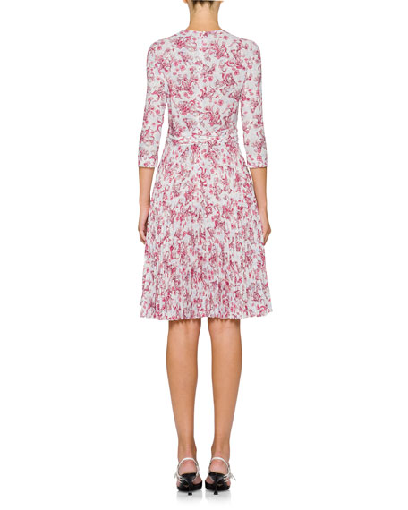 3/4-Sleeve Fit-and-Flare Floral-Print Dress