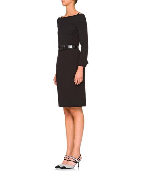 Off-Shoulder Belted Dress