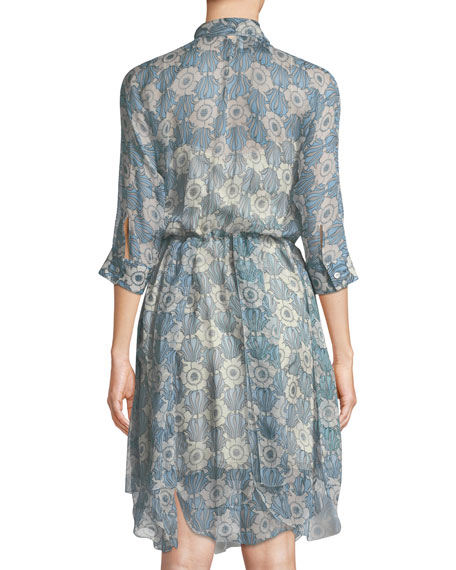 3/4-Sleeve Tie-Neck Floral-Print Dress