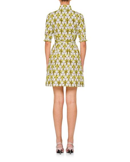 Floral-Print Half-Sleeve Mini Dress
