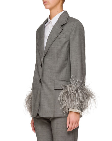 Feather-Embellished Two-Button Jacket
