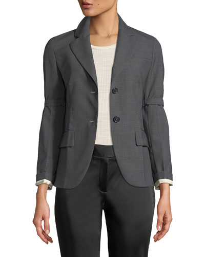 Two-Button Blazer Jacket with Sleeve Garters