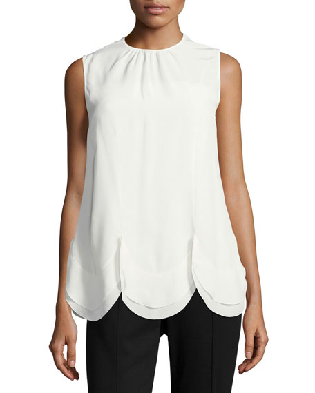 Scalloped Crepe de Chine Top
