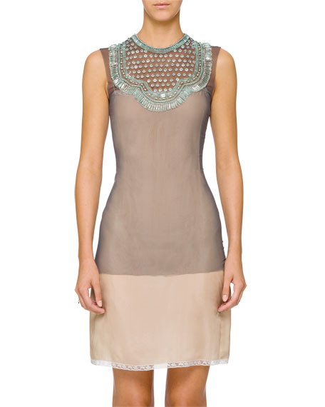 Tulle Crewneck Sleeveless Embellished Top