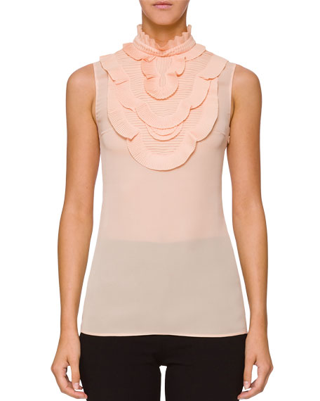 Sleeveless Ruffle Chest Blouse