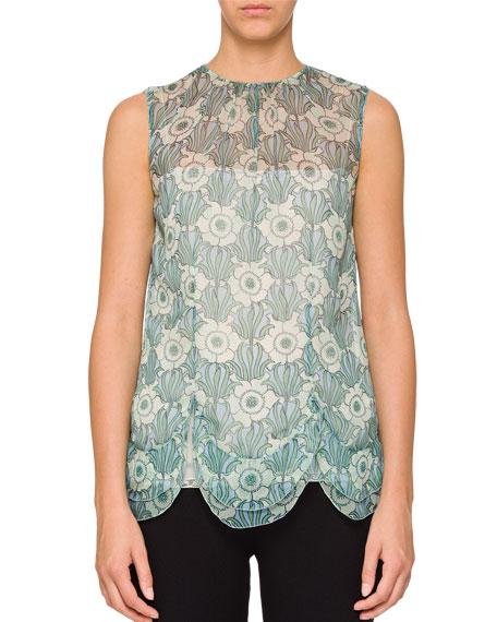 Sleeveless Floral-Print Chiffon Top
