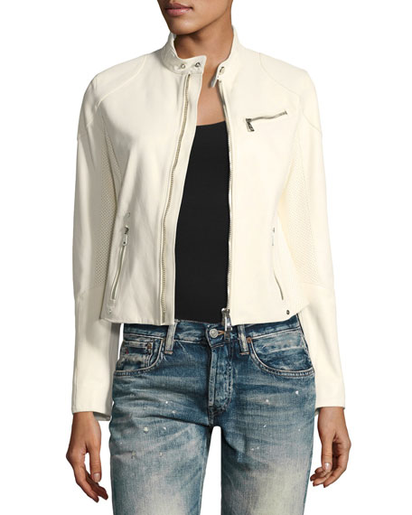 Zip-Front Leather Biker Fitted Jacket