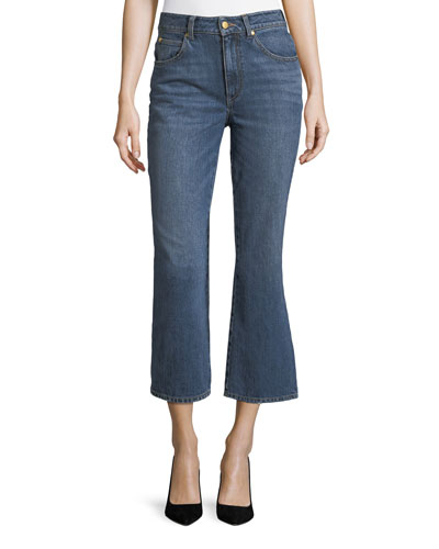 Mid-Rise Cropped Boot-Cut Jeans