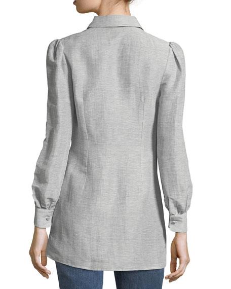 Button-Front Striped Silk-Linen Shirt