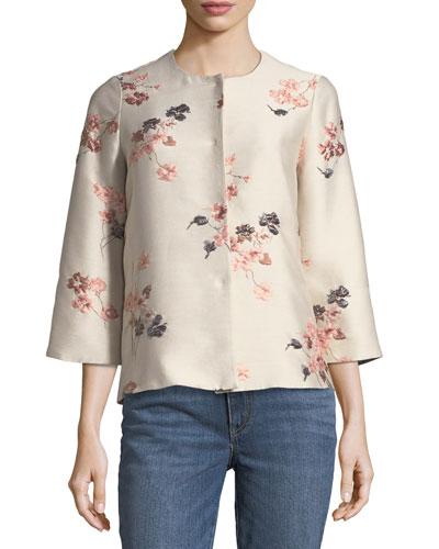 Collarless Floral-Jacquard Jacket