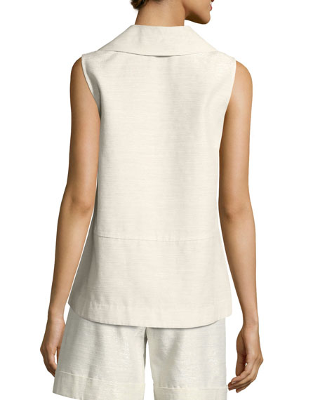 Sleeveless Notch-Collar A-Line Top