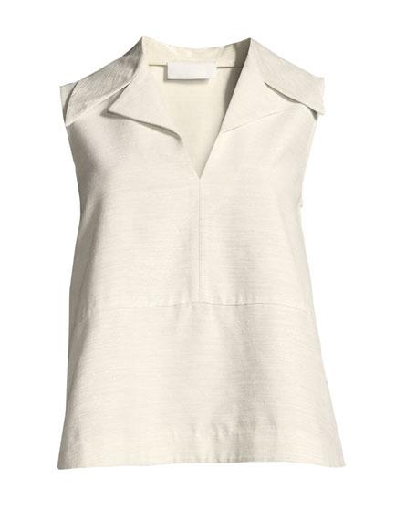 Sleeveless Notch-Collar A-Line Top