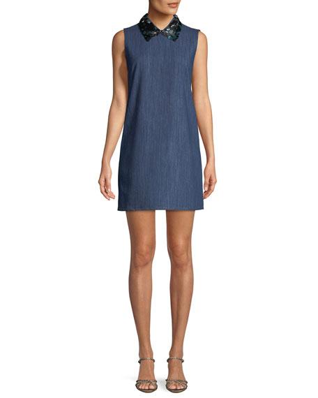 Paillette-Collar Sleeveless Shift Denim Dress