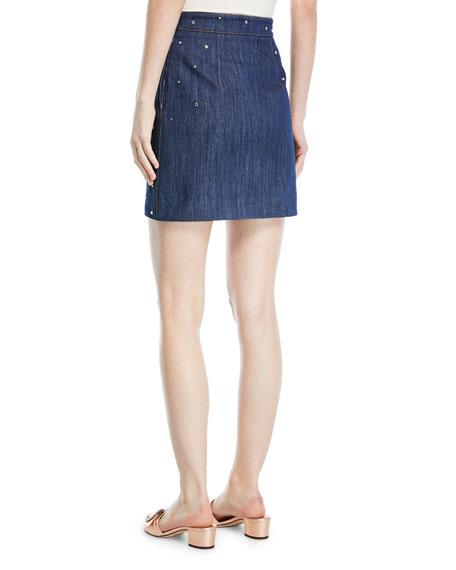 Crystal-Studded Denim Mini Skirt