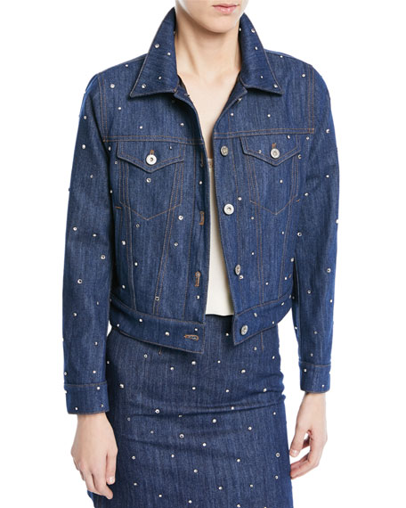 Crystal-Embellished Denim Jacket