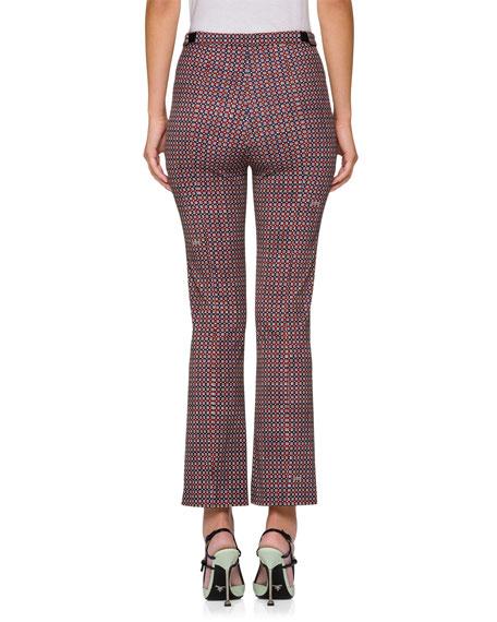 Techno Damier Print Flat-Front Pants