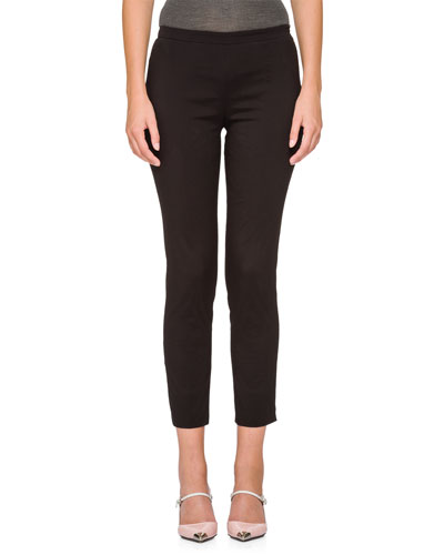 Flat-Front Straight Cropped Pants