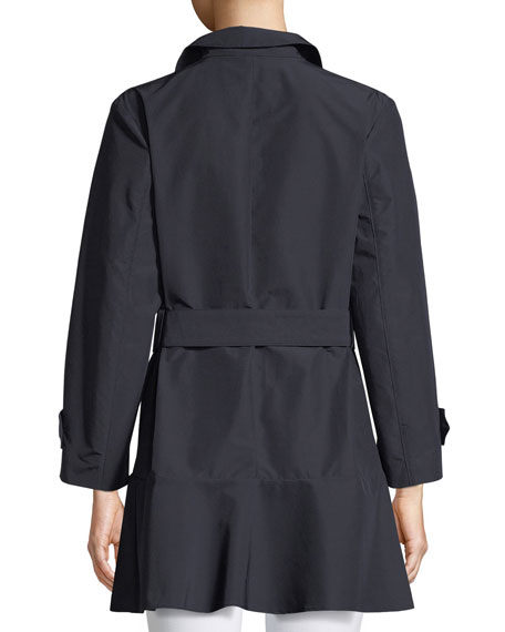 Button-Front Belted Peplum Trench Coat