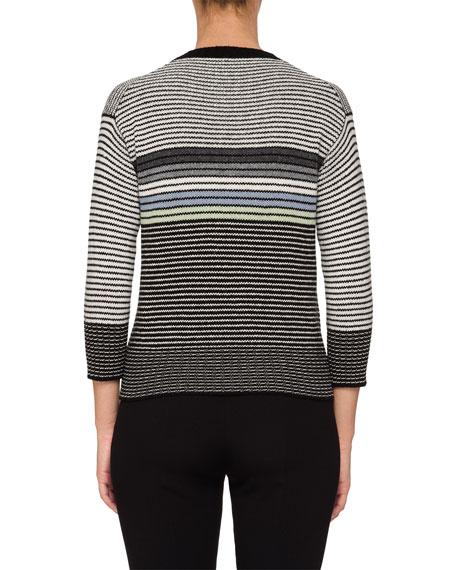 Striped Bracelet-Sleeve Sweater