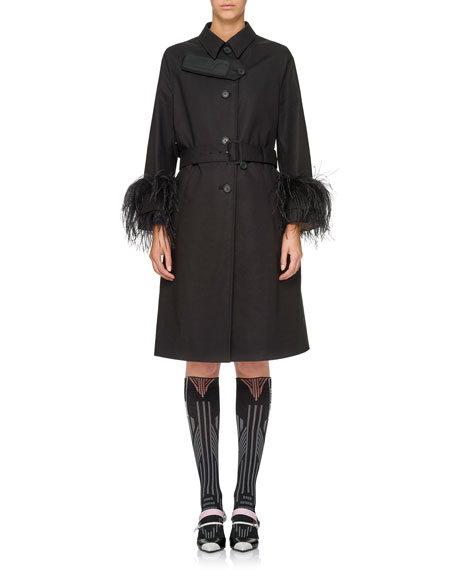 Feather-Embellished Trenchcoat