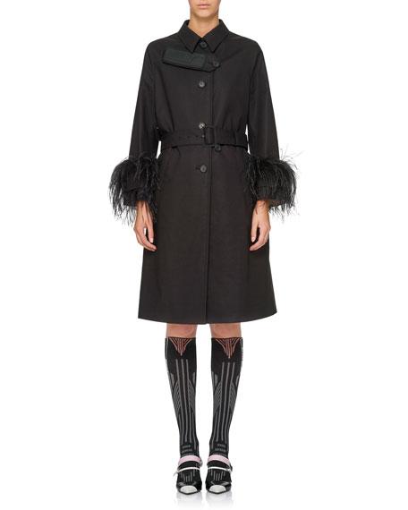 Feather-Embellished Trenchcoat