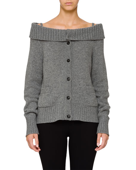 Wool-Cashmere Off-the-Shoulder Cardigan