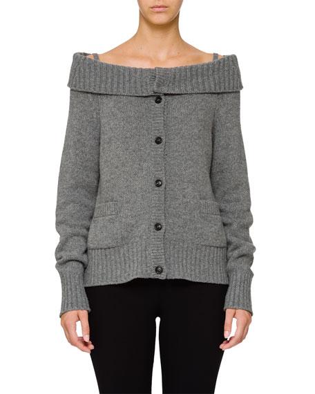 Wool-Cashmere Off-the-Shoulder Cardigan