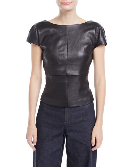 Backless Cap-Sleeve Fitted Leather Blouse