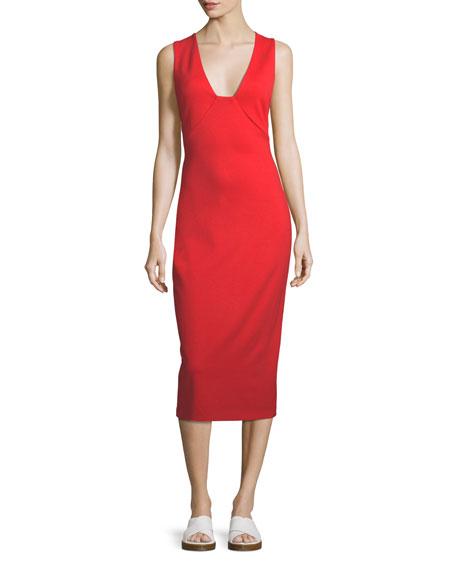 V-Neck Sleeveless Midi Dress
