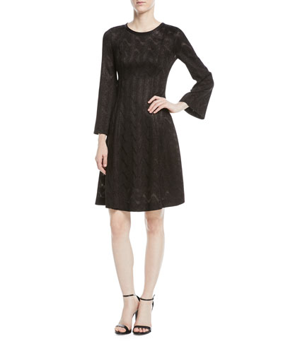 Long-Sleeve Metallic Wavy-Knit Dress