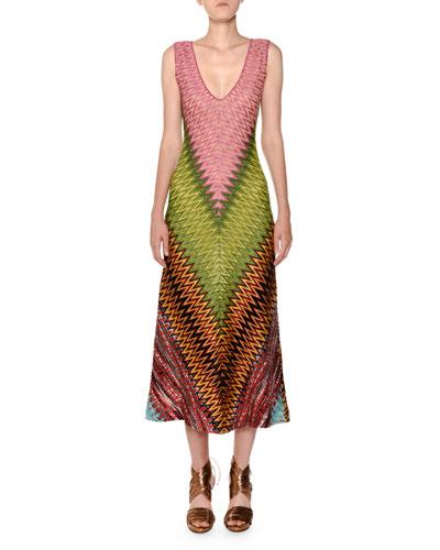 Sleeveless V-Neck Zigzag Knit Dress