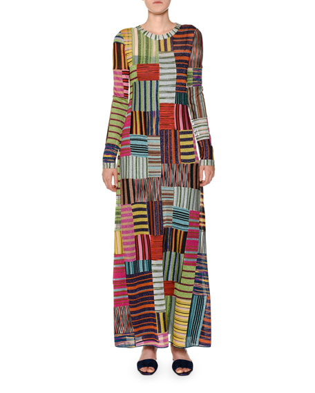 Long-Sleeve Patchwork Knit Maxi Dress