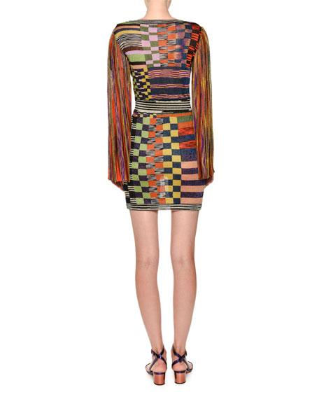 Long-Sleeve Patchwork Shift Dress
