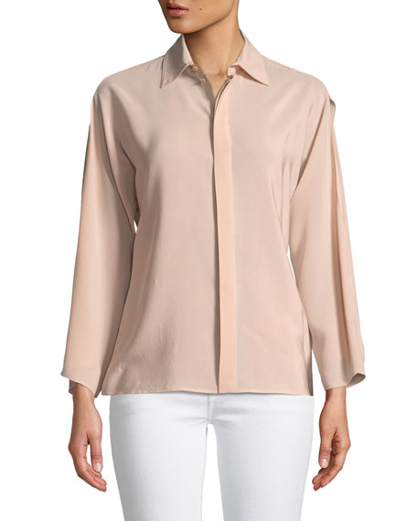 Karen Split-Sleeve Silk Blouse, Blush