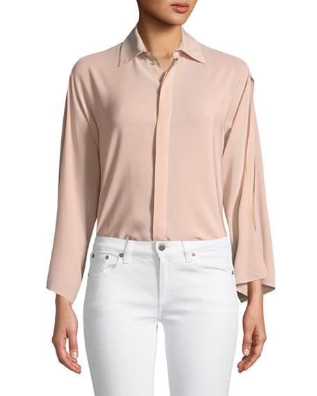 Karen Split-Sleeve Silk Blouse, Blush