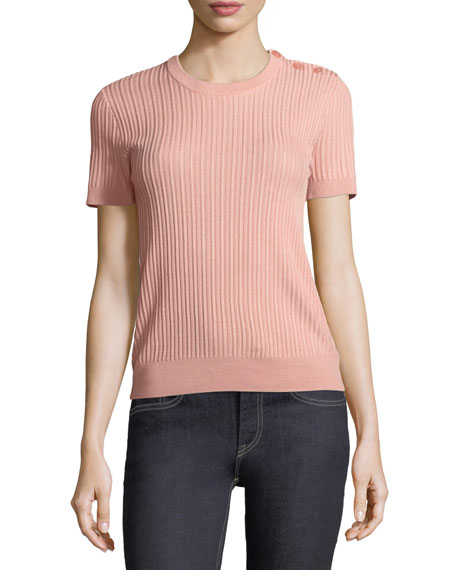 Short-Sleeve Button-Shoulder Sweater