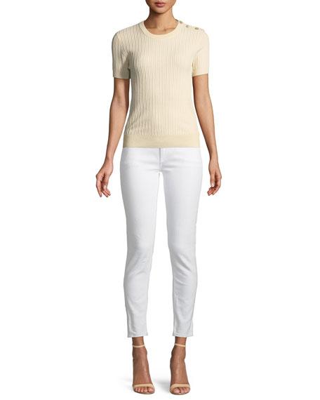 Short-Sleeve Button-Shoulder Sweater