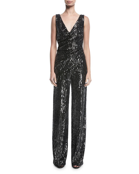 Hilden Sequined V-Neck Jumpsuit
