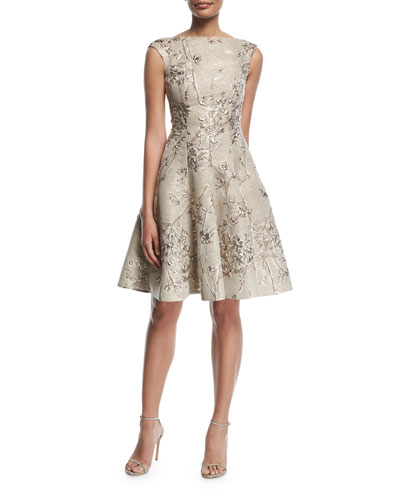 Korbut Metallic Jacquard Party Dress