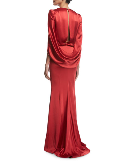 Pomelo Draped Blouson Satin Gown