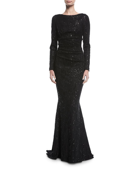 Poral Scoop-Back Sequined Gown